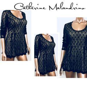 Catherine Malandrino Lace Pleated Blouse Black